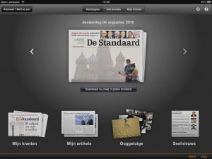 De Standaard iPad GUI